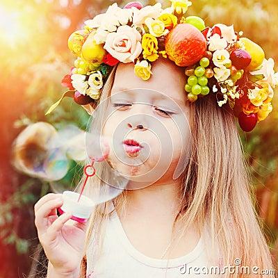 Free Happy Kid With Soap Bubbles Stock Photos - 74183153