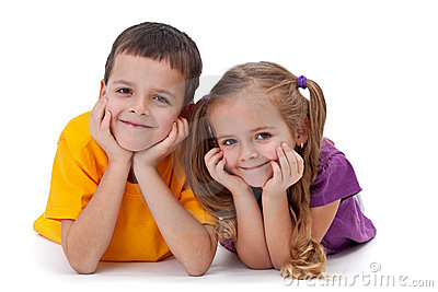 Happy kids - boy and girl