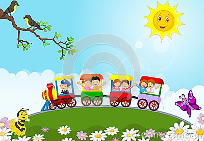Happy kids cartoon on a colorful train Vector Illustration