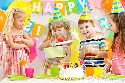 Happy kids celebrating birthday
