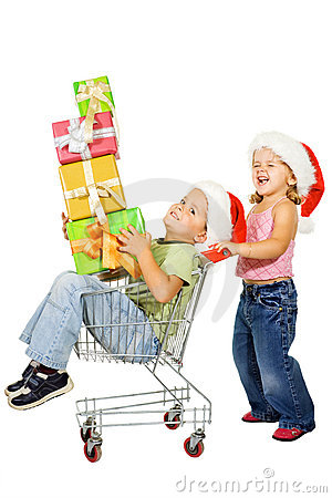 Happy kids christmas shopping