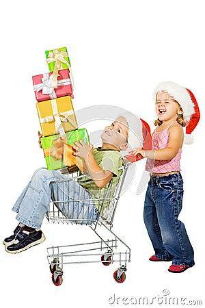 Happy kids christmas shopping