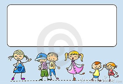 Happy kids dance, sing, jump, run,vector