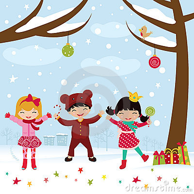Happy kids dancing in Christmas