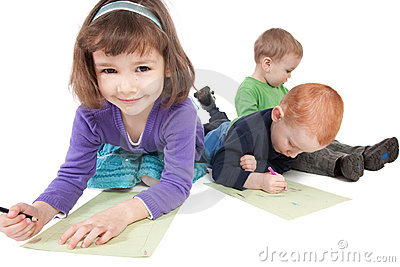 Happy kids drawing