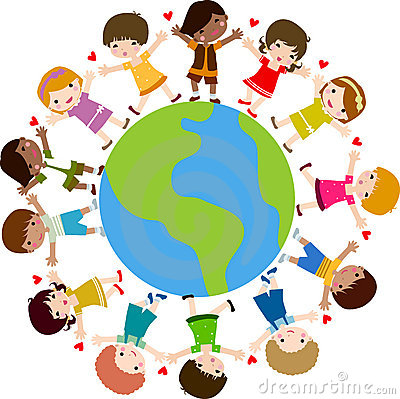 Happy kids and earth