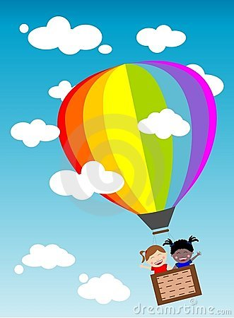 Happy Kids Flying in Hot Air Balloon