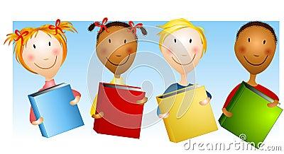 Happy Kids Holding Books