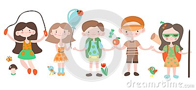 Happy kids, holiday and camping playing with camp elements. Jouful children cartoon vector illustration, set of Vector Illustration