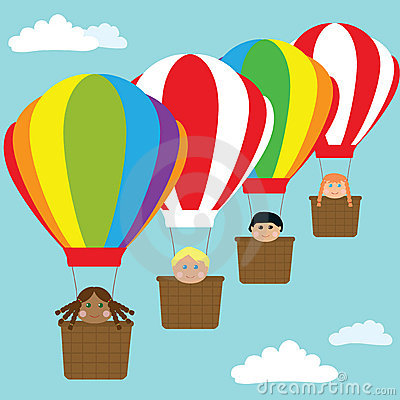 Happy kids in hot air balloons