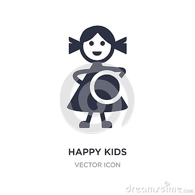 happy kids icon on white background. Simple element illustration from Charity concept Vector Illustration