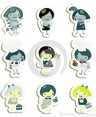 Happy kids icons sticker set