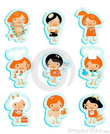 Happy kids icons sticker set cook study relax play