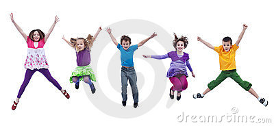 Happy kids jumping high - isolated