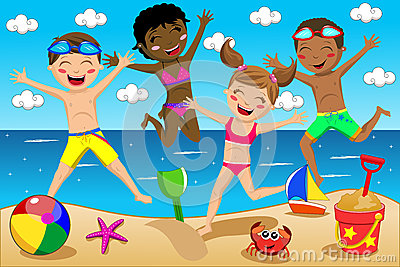 Happy Kids Kid Swimsuit Jumping Isolated