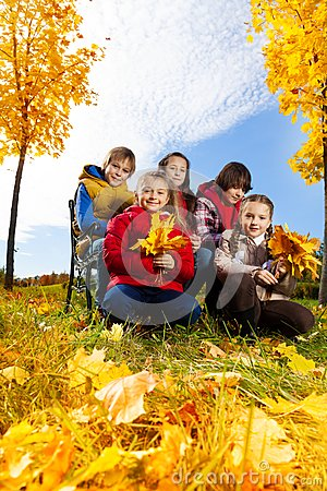 Happy kids like autumn