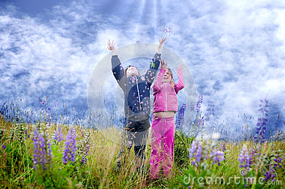 Happy Kids in lupine meadow