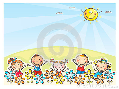 Happy kids outdoors Vector Illustration