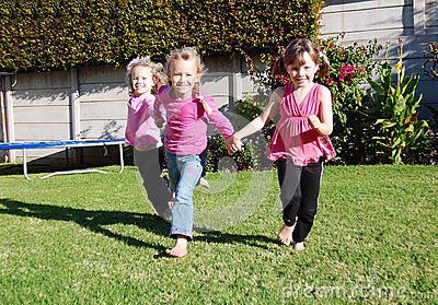Happy kids playing and running