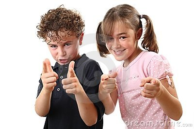 Happy kids pointing