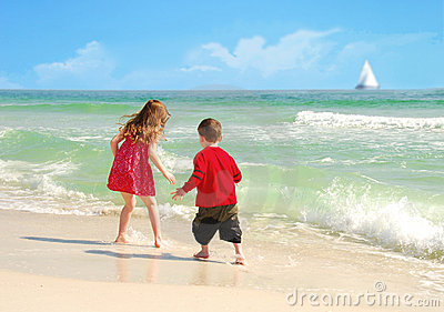 Happy Kids on Pretty Beach
