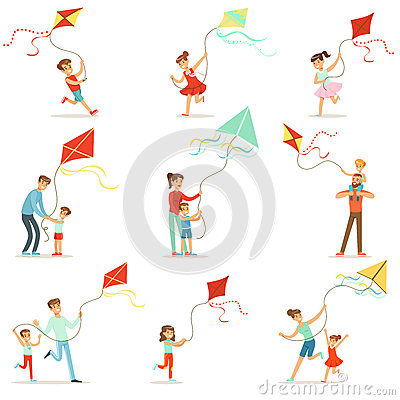 Free Happy Kids Running With Kite. Parents Help Children Run A Kite, A Fun Family Vacation. Royalty Free Stock Photo - 89530665