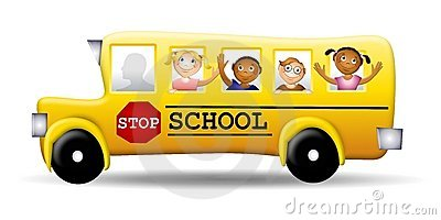 Happy Kids on a Schoolbus