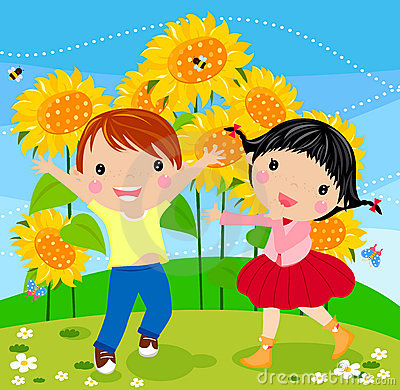 Happy kids and sunflower