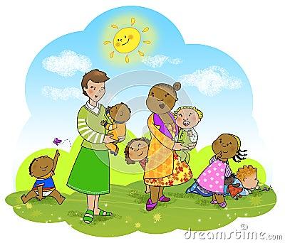 Happy kids and teachers