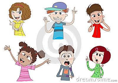 Happy kids or teens talking