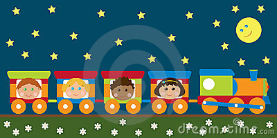 Happy kids in the train