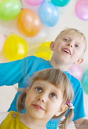 Happy kids are waiting for gifts