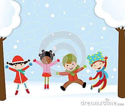 Happy kids in winter