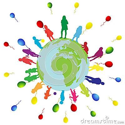Happy kids and world