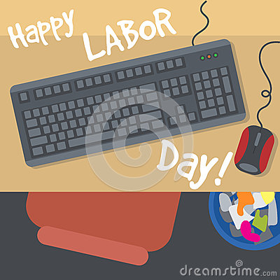 Free Happy Labor Day, With A Table, Keyboard, Mouse And Bin. View From Top Royalty Free Stock Image - 76173476