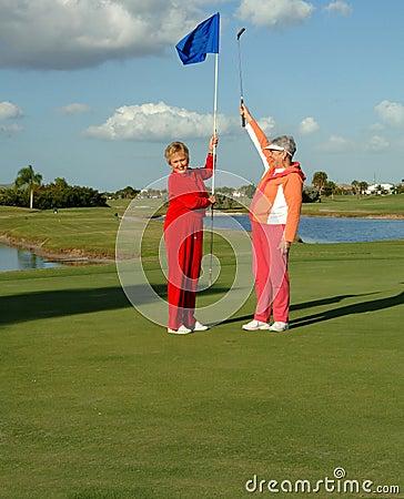 Free Happy Lady Golfers Celebrate Stock Photography - 4734642
