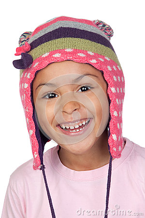 Happy latin child with bonnet wool