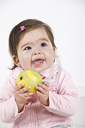 Free Happy Laughing Baby With Apple Stock Images - 14049364
