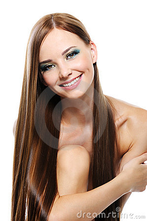 Free Happy Laughing Girl With Beautiful Straight Hair Stock Images - 10786564