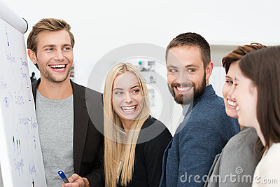 Happy laughing group of businesspeople
