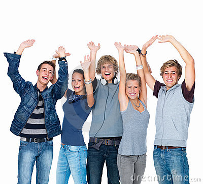 Happy Laughing Students Waving Royalty Free Stock Images - Image: 6802789