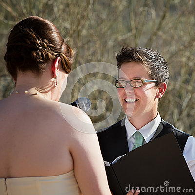 Lady Reading Vows to Bride