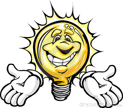 Happy Light Bulb with Hands Cartoon