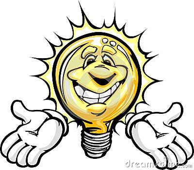 Happy Light Bulb with Hands Cartoon