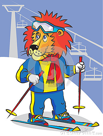 Lion Is Mountain Skier Royalty Free Stock Photography