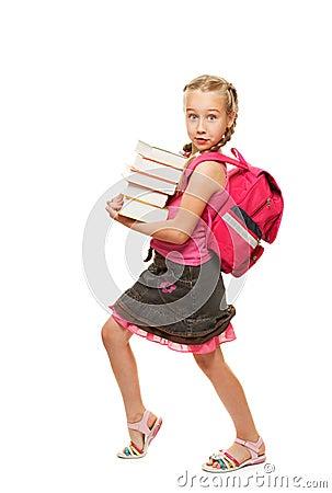Happy litthe schoolgirl