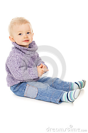 Free Happy Little Baby In Warm Clothes, Poses For The Camera Stock Image - 28985171