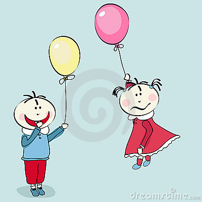Happy little boy, girl flying with the balloon
