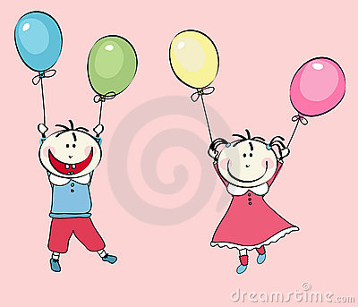 Happy little boy, girl flying with the balloons
