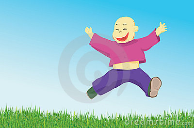 Happy little boy jumping